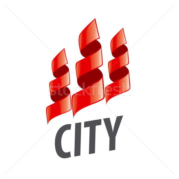 vector logo home in the form of red ribbons Stock photo © butenkow