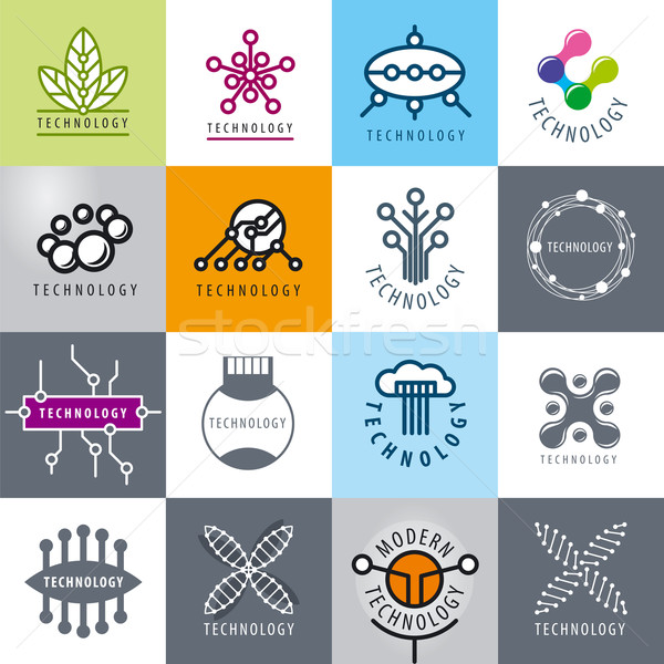 big set of vector logos technology Stock photo © butenkow