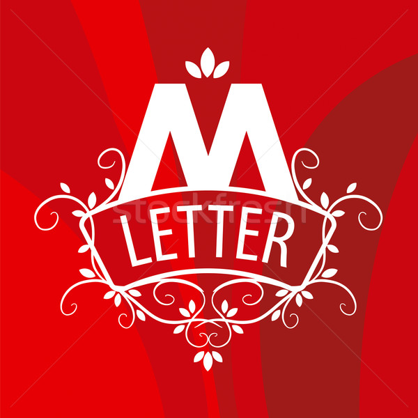 ornate letter M vector logo on a red background Stock photo © butenkow