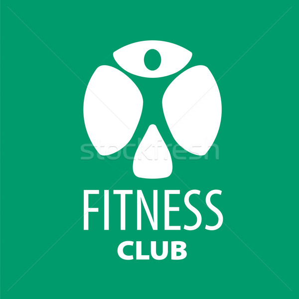 Round vector logo for fitness clubs on a green background Stock photo © butenkow