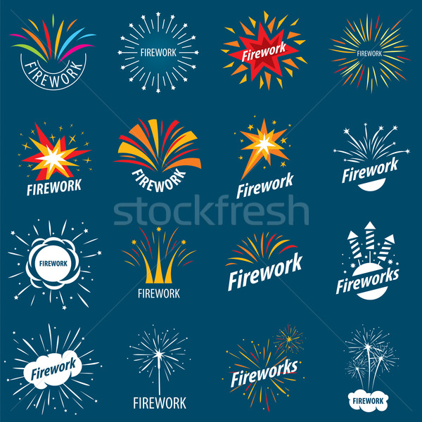 biggest collection of vector logos for fireworks Stock photo © butenkow