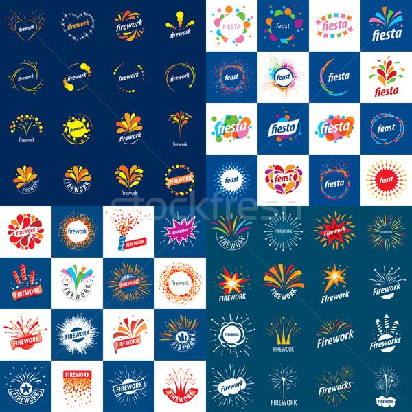 set of vector logos for fireworks Stock photo © butenkow