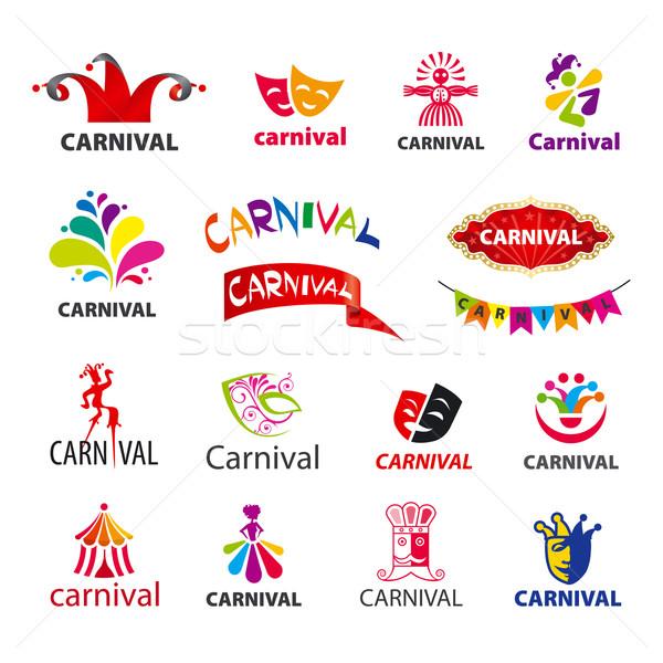 Nagy szett vektor logók karnevál zene Stock fotó © butenkow