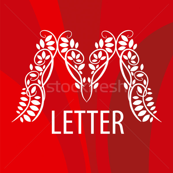 Logo letter M with a vegetative ornament on a red background Stock photo © butenkow