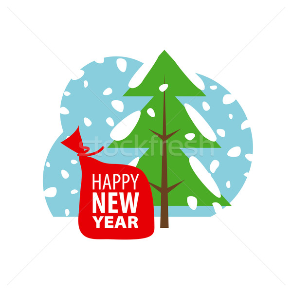 Vetor logotipo natal inverno paisagem abstrato Foto stock © butenkow