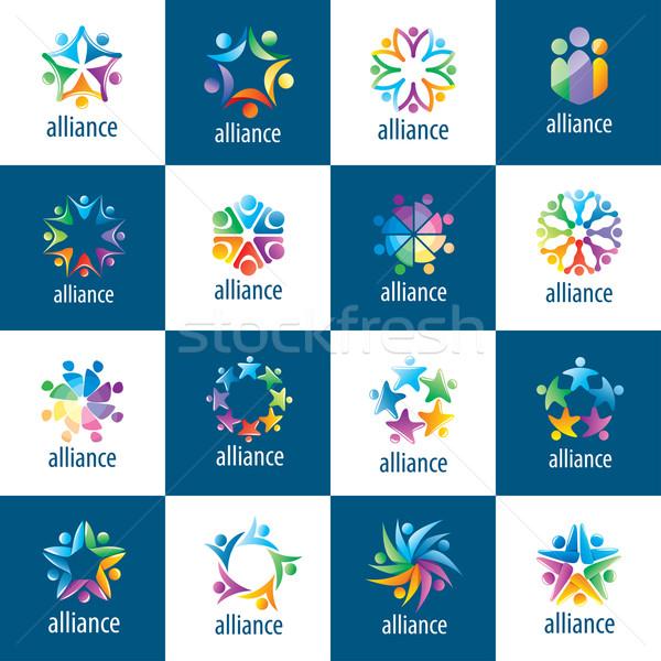 Ingesteld logos unie mensen abstract vector Stockfoto © butenkow