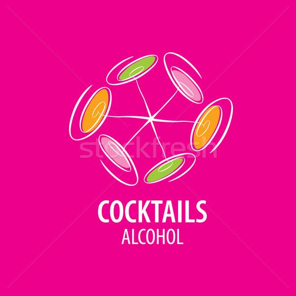 Koktélok logo vektor ikonok italok buli Stock fotó © butenkow
