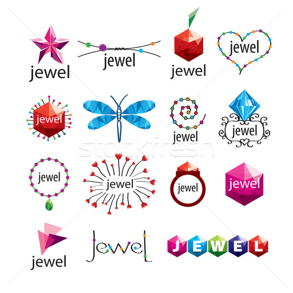 collection of vector logos jewelry and fashion accessories Stock photo © butenkow
