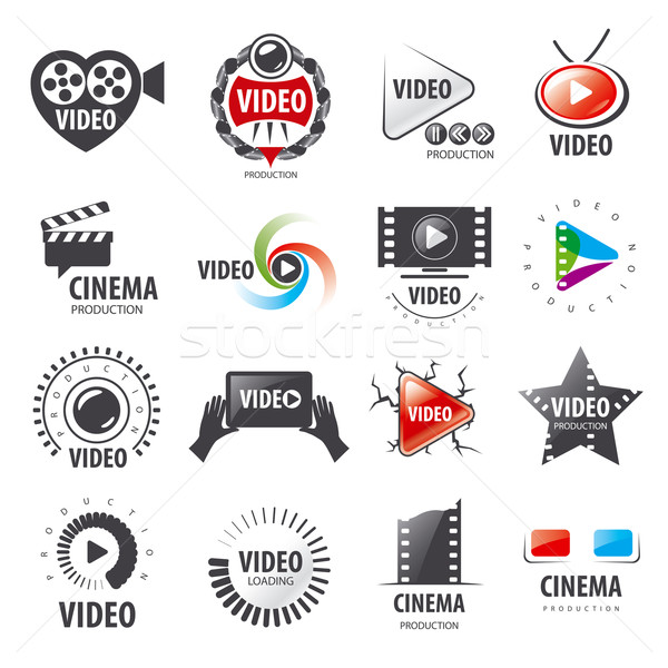 biggest collection of vector logos for video production Stock photo © butenkow