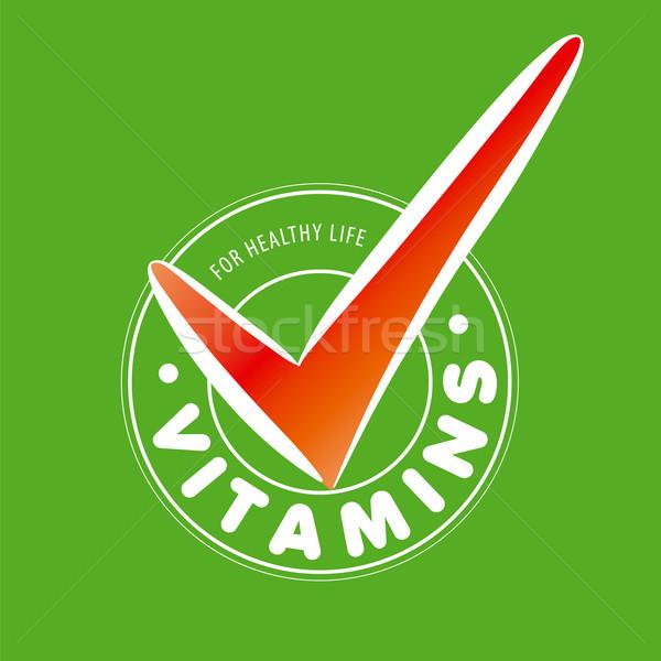 Vector logo vitaminas verde alimentos resumen Foto stock © butenkow