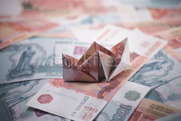 Hajó origami bankjegyek pénz üzlet bank Stock fotó © butenkow