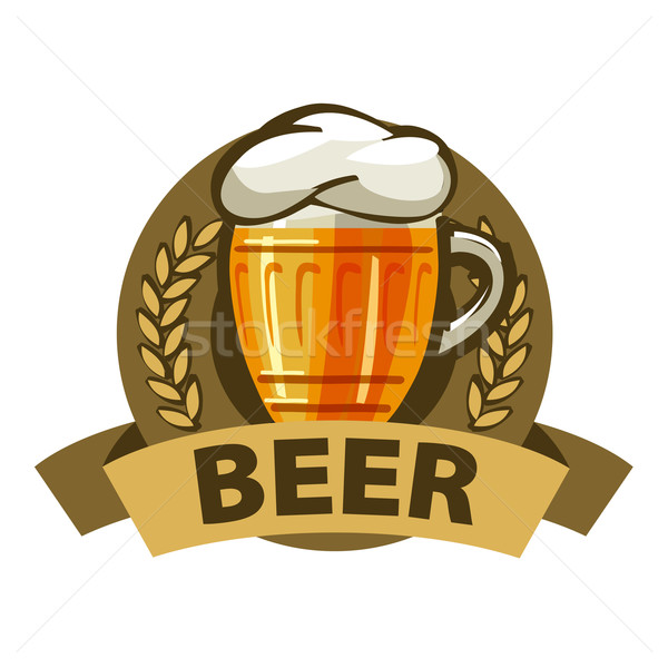 vector logo beer in a mug and a ribbon Stock photo © butenkow