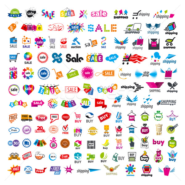 large set of vector logos shopping Stock photo © butenkow