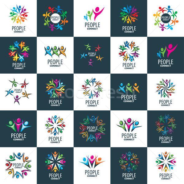 Vektör logo insanlar model dizayn soyut Stok fotoğraf © butenkow