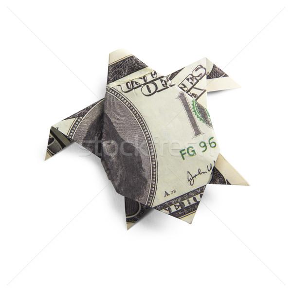 Origami schildpadden bankbiljetten schildpad witte geld Stockfoto © butenkow