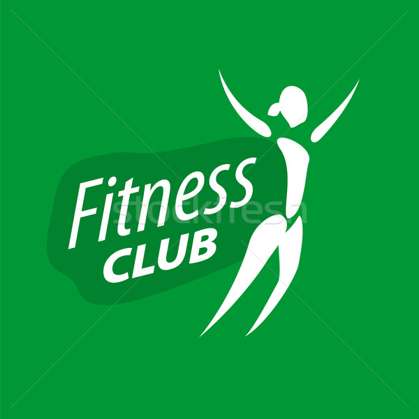 vector logo for fitness clubs on a green background Stock photo © butenkow