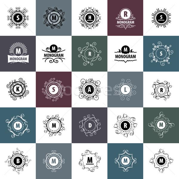 Monogram vector frame logo sjabloon patroon Stockfoto © butenkow
