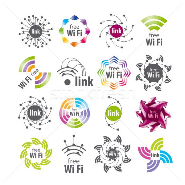 Raccolta vettore logos wifi connessione computer Foto d'archivio © butenkow