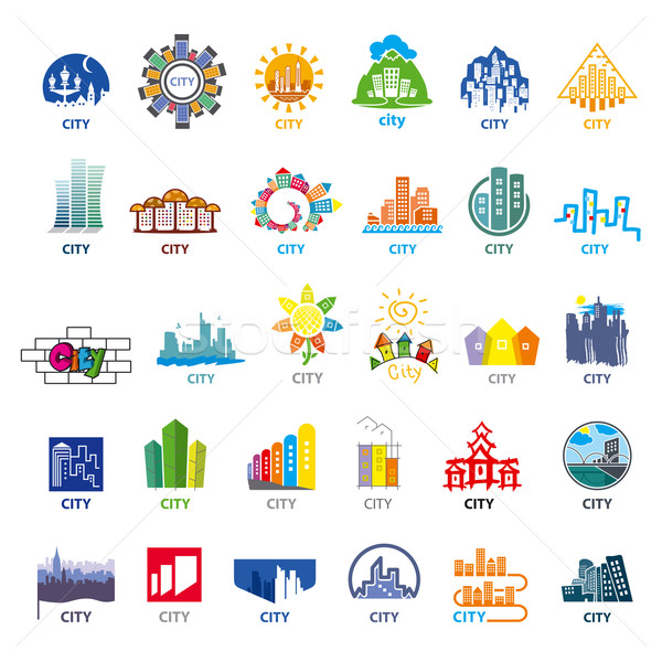 biggest collection of vector logos cities Stock photo © butenkow