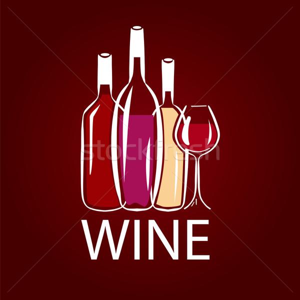 vector logo wine bottle and wine glass Stock photo © butenkow