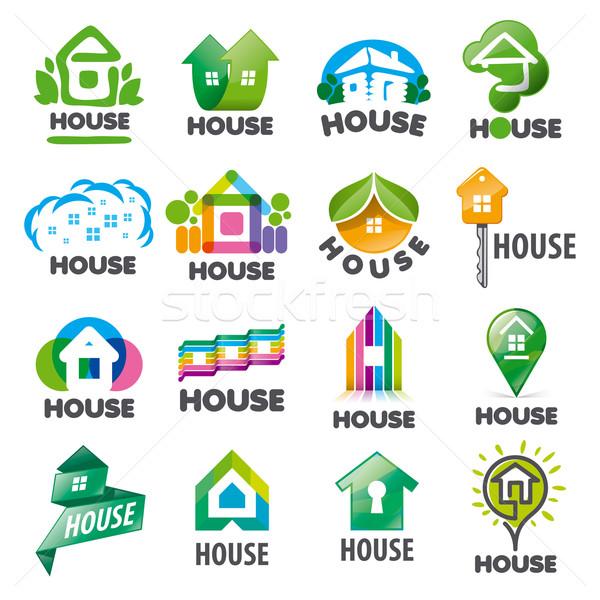 large set of vector logos homes Stock photo © butenkow