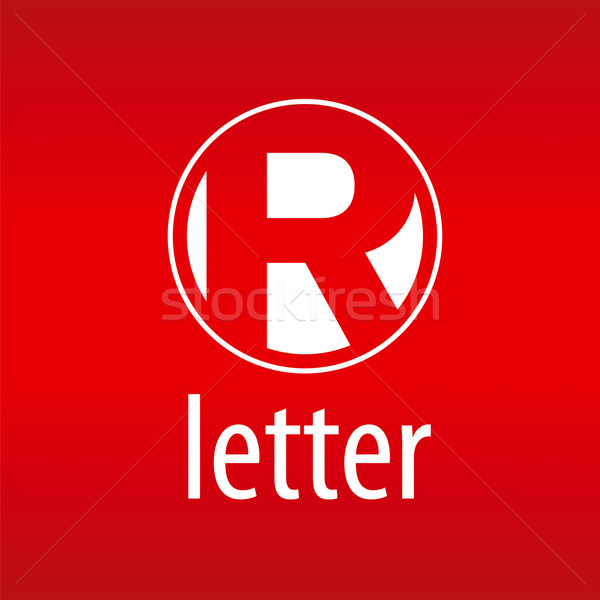Round vector logo letter R on a red background Stock photo © butenkow