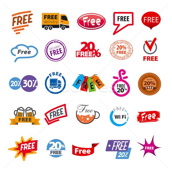 big set of vector logos free Stock photo © butenkow