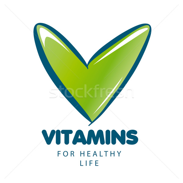 vector logo vitamins with green tick Stock photo © butenkow