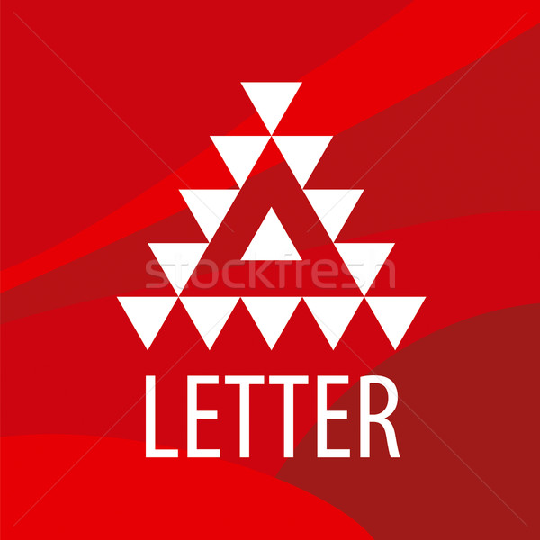 triangular vector logo letter A on a red background Stock photo © butenkow