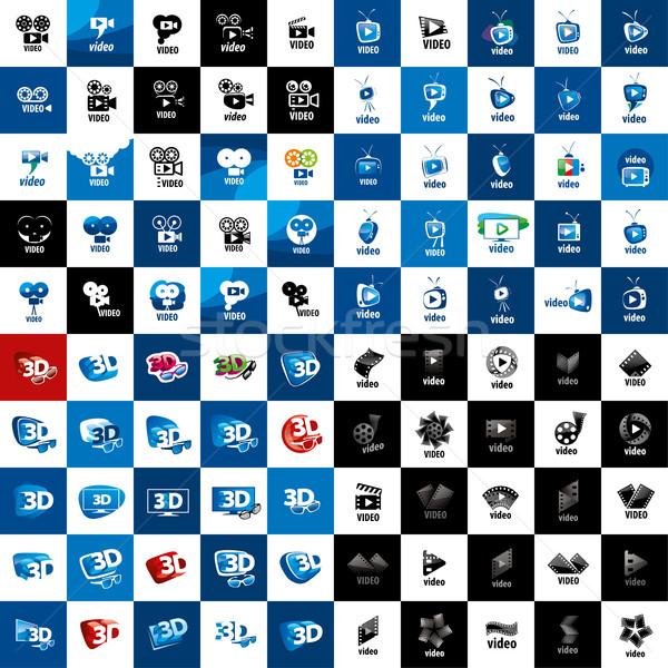 Stok fotoğraf: Vektör · logo · video · büyük · ayarlamak · logolar