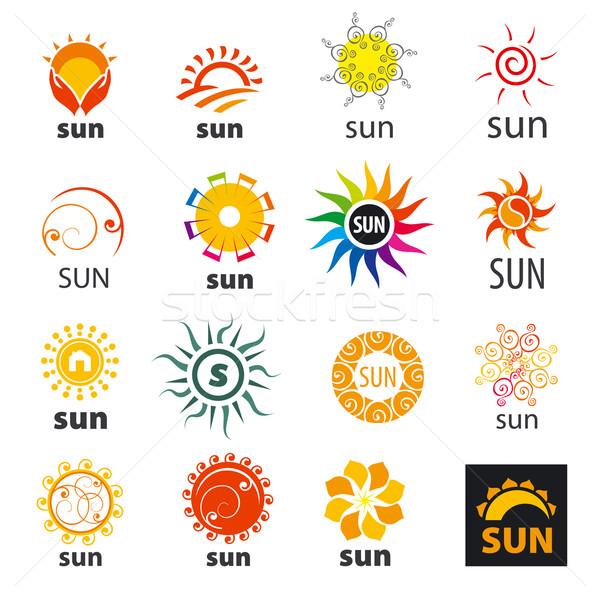 Büyük ayarlamak vektör logolar güneş iş Stok fotoğraf © butenkow