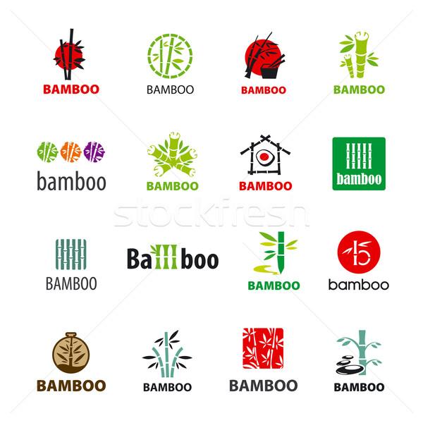 Сток-фото: коллекция · вектора · Логотипы · бамбук · цветы · дерево