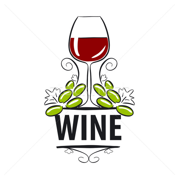 vector logo glasses of wine and grapes Stock photo © butenkow