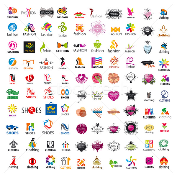 biggest collection of vector logo design and fashion clothes Stock photo © butenkow