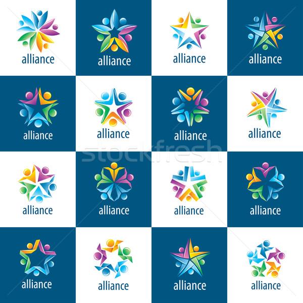 set of logos union people Stock photo © butenkow