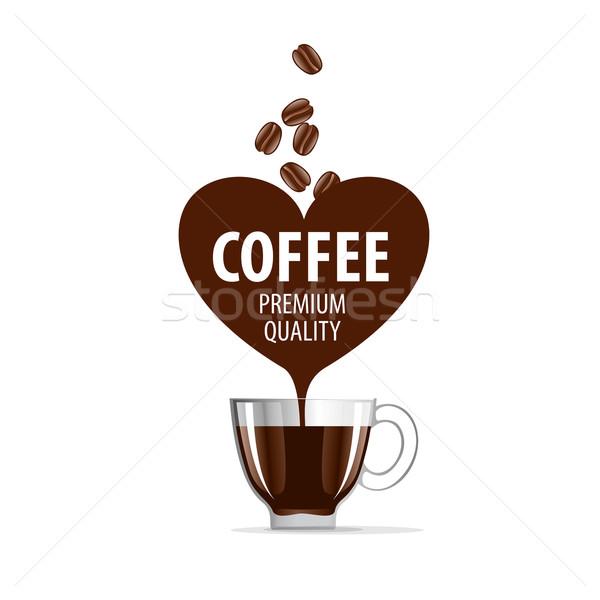 Vektor logo kávé forró ital illusztráció szív Stock fotó © butenkow