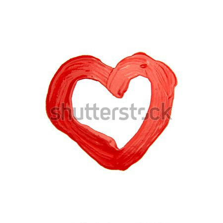 Pintado vermelho coração escove amor Foto stock © butenkow