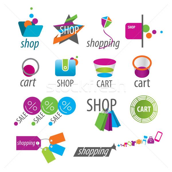 Сток-фото: коллекция · вектора · Логотипы · торговых · карт · деньги
