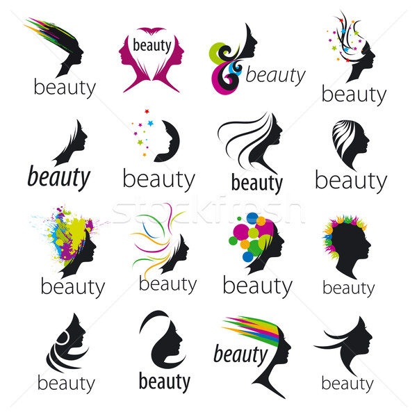 collection of vector logos beautiful female face  Stock photo © butenkow