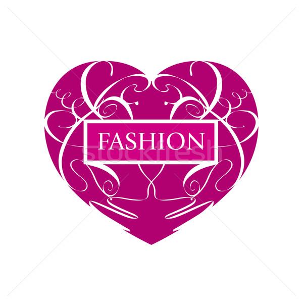 vector logo fashionable heart of patterns Stock photo © butenkow