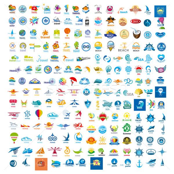большой набор вектора Логотипы поездку мира Сток-фото © butenkow
