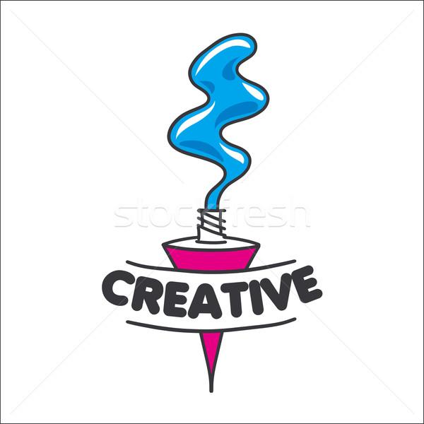 Vector logo tubo pintura creatividad belleza Foto stock © butenkow