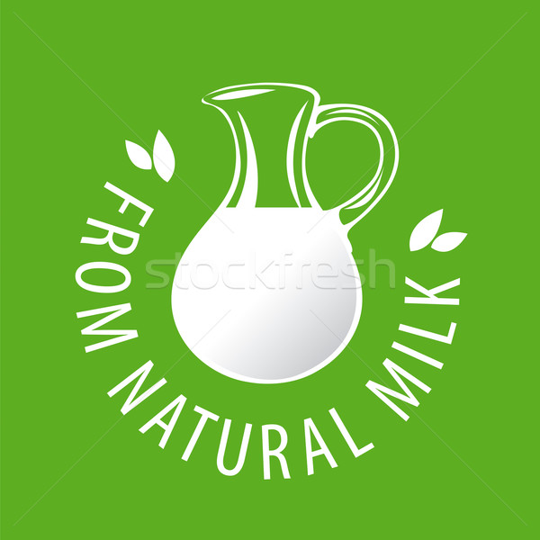 vector logo glass jug with milk Stock photo © butenkow