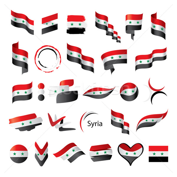 Ingesteld vlaggen Syrië groot vector Stockfoto © butenkow