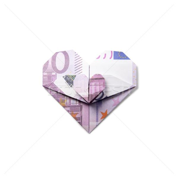 Origami Herz Banknoten weiß Business Geld Stock foto © butenkow