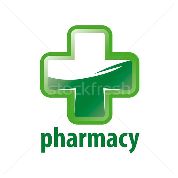 Vector logo groene kruis apotheek Stockfoto © butenkow
