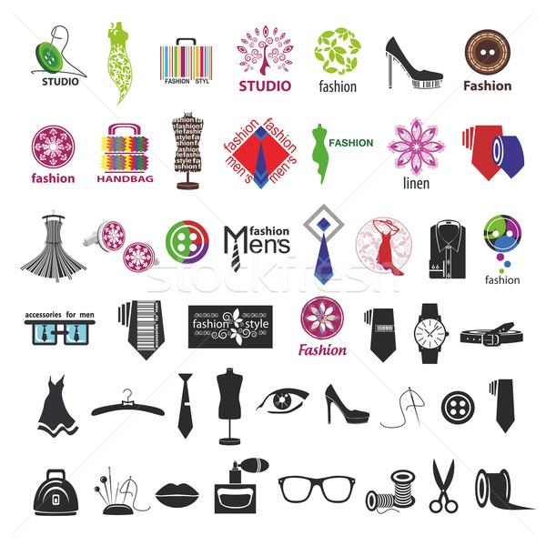 Vektor logók ruházat divat kellékek vásárlás Stock fotó © butenkow