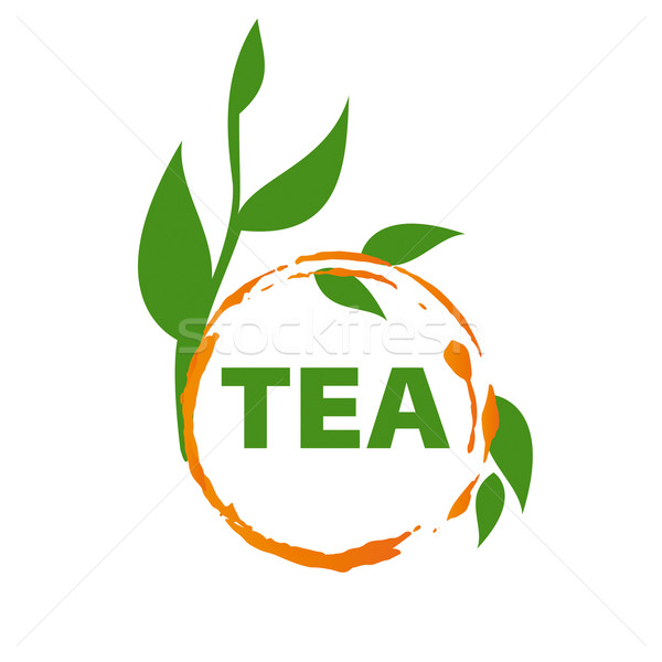 vector logo imprint tea and green leaves Stock photo © butenkow