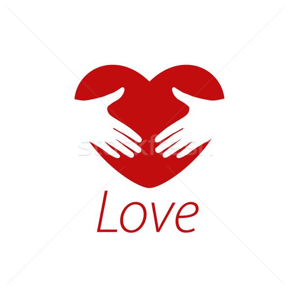Vektor logo szív minta absztrakt nyilatkozat Stock fotó © butenkow