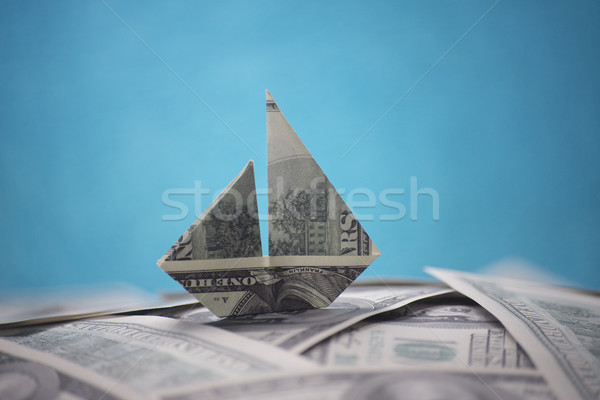 Navire origami argent affaires banque Photo stock © butenkow